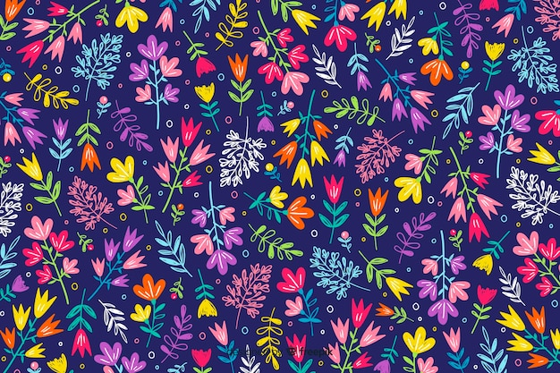 Hand drawn floral pattern background
