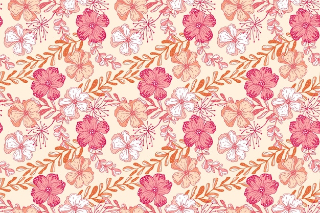 桃色の手描き花柄デザイン