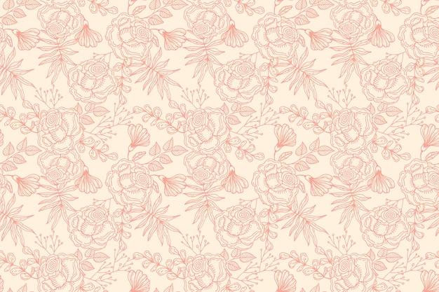 복숭아 색조에 손으로 그린 꽃 패턴 디자인