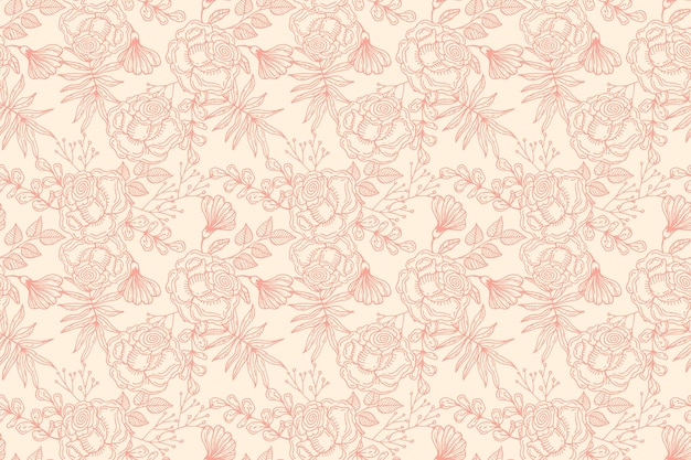 Hand drawn floral pattern design in peach tones