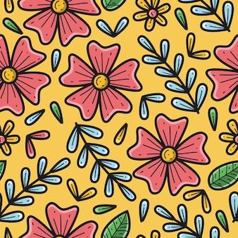 손으로 그린 꽃 패턴 그림