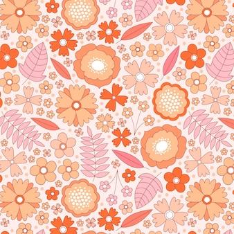 桃色の手描きの花柄
