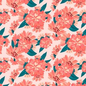 桃色の手描き花柄