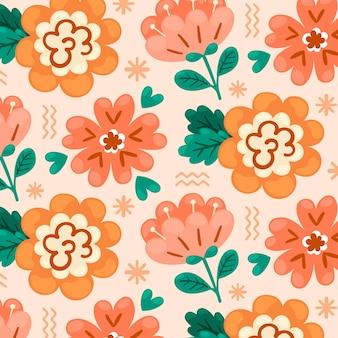 Ручной обращается цветочный узор в персиковых тонах