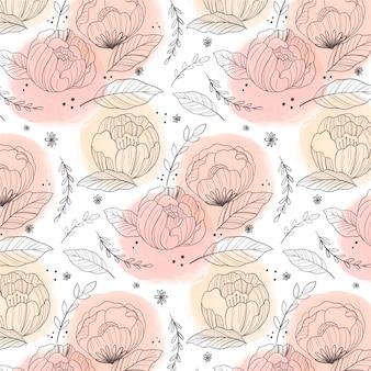 복숭아 색조에 손으로 그린 된 꽃 패턴