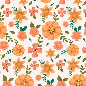 복숭아 톤의 손으로 그린 꽃 패턴