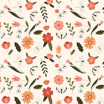 Hand drawn floral pattern template with insects