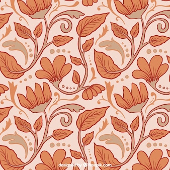 Hand drawn floral pattern in vintage style