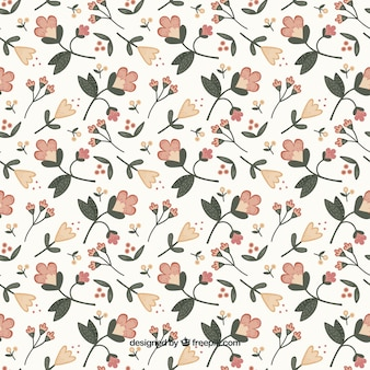 Hand drawn floral pattern with leaves