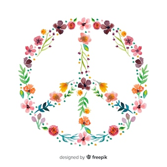 Hand drawn floral peace sign