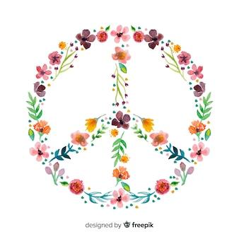 手描きの花の平和サイン