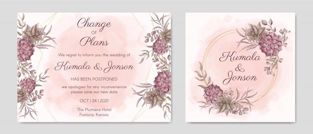 手描き花延期結婚式招待状カードテンプレート