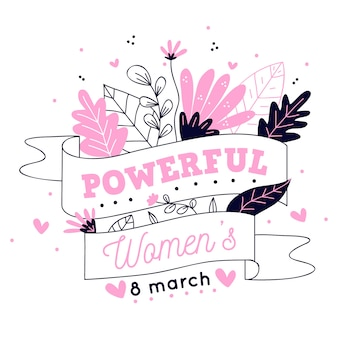 Hand drawn floral powerful women illustration
