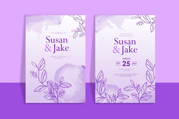 手描きの花の紫色の結婚式の招待状の水彩画の背景