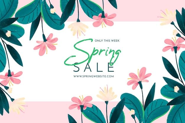 Banner di vendita floreale disegnato a mano
