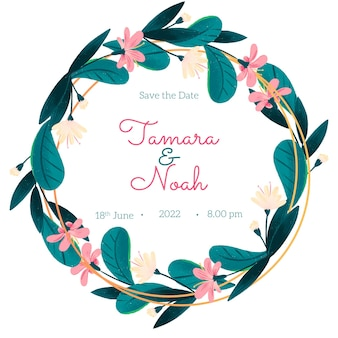 Hand drawn floral save the date wreath card