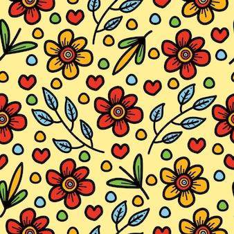 手描きの花のシームレスなパターンデザイン