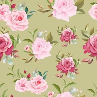 手描き花柄シームレスパターンデザイン