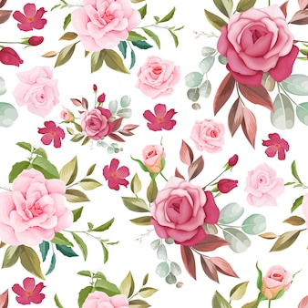 Hand drawn floral seamless pattern design