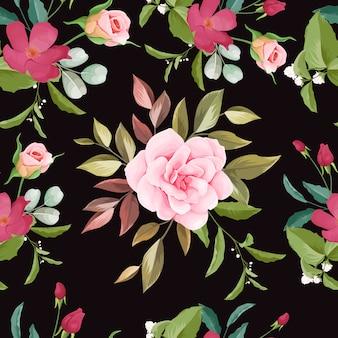 손으로 그린 된 꽃 원활한 패턴 디자인