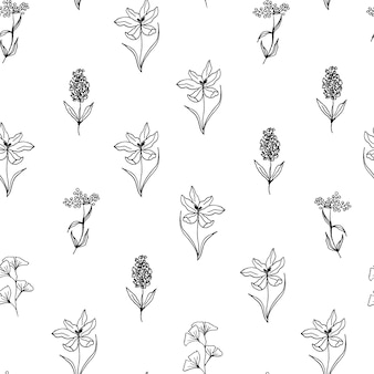 Hand drawn floral seamless pattern with crocus and lilac line art style