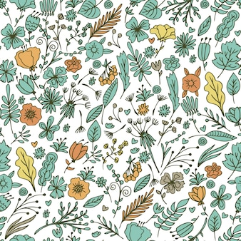 Hand drawn floral seamless pattern with flowers and leaves.