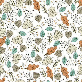 Hand drawn floral seamless pattern with flowers and leaves