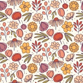 Рука нарисованные цветочный фон