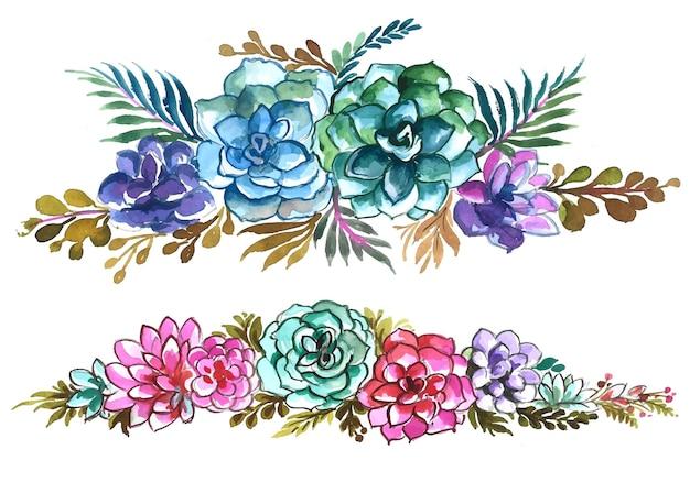 手描き花セット水彩デザイン