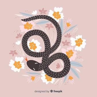Priorità bassa floreale disegnata a mano del serpente