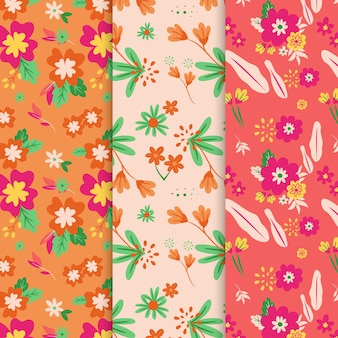Hand drawn floral spring pattern collection
