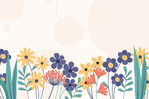 Hand drawn floral spring wallpaper