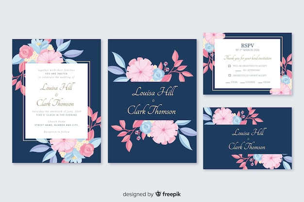 Hand drawn floral stationery template pack