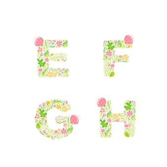 Hand drawn floral uppercase letter monograms or logo.