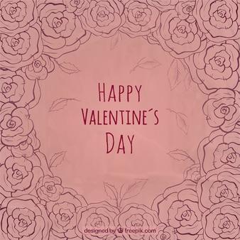 Hand drawn floral valentine background