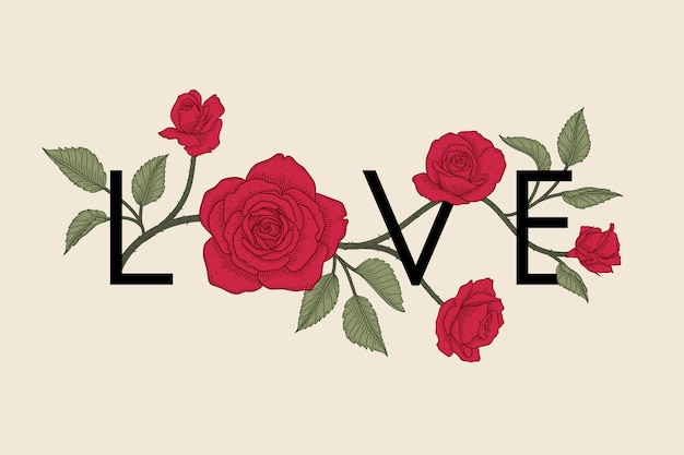 Hand drawn floral valentine's day background.