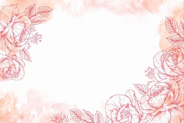 Carta da parati floreale disegnata a mano