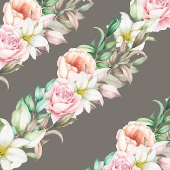 手描き花水彩シームレスパターン
