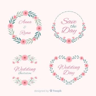 손으로 그린 꽃 결혼식 배지 컬렉션