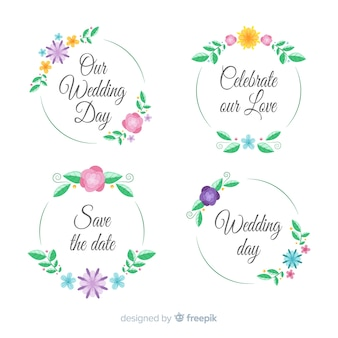 Hand drawn floral wedding badges collection