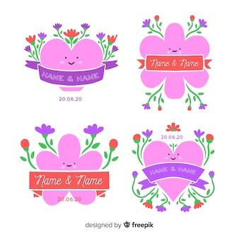 Hand drawn floral wedding badges set