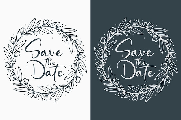 Hand drawn floral wedding badges with circle style