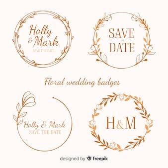 Ручной обращается цветочные свадебные значки Premium векторы