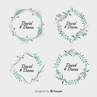 Hand drawn floral wedding badges