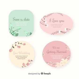 Hand drawn floral wedding badges