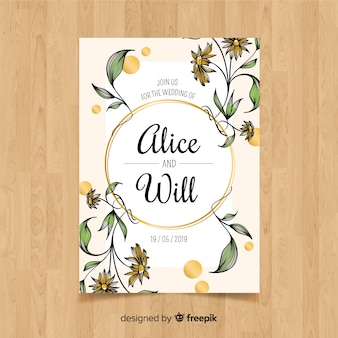 Hand drawn floral wedding card template