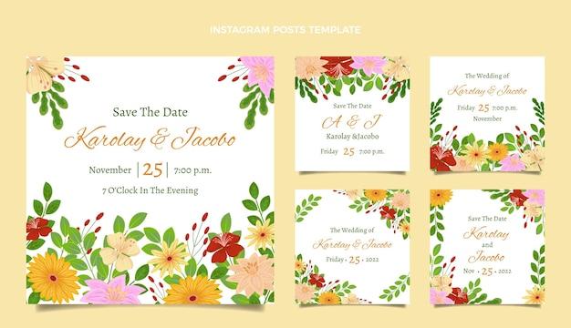 手描きの花の結婚式のinstagramの投稿