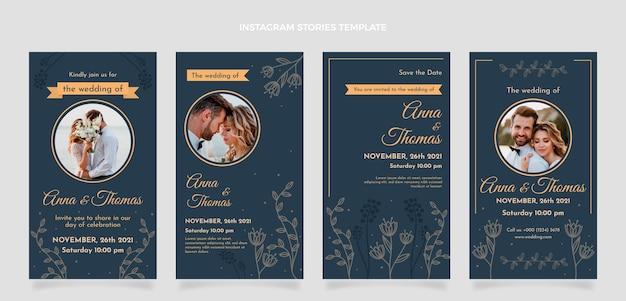 Hand drawn floral wedding instagram stories