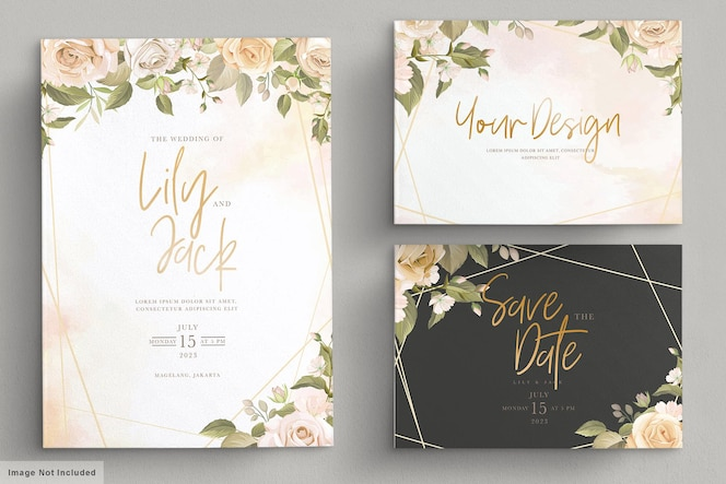 Hand drawn floral wedding invitation card set
