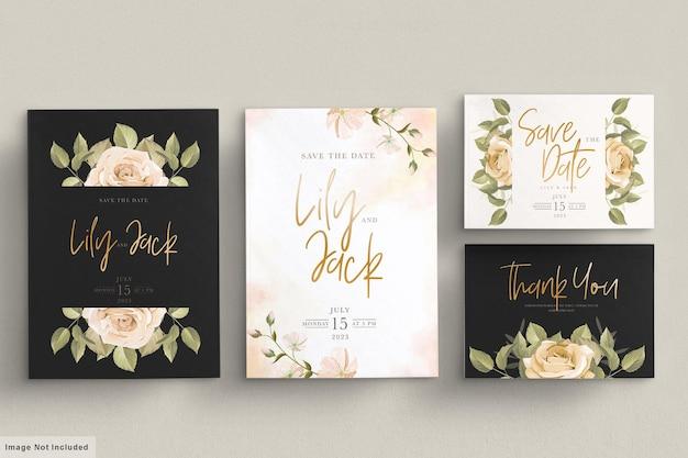 Набор рисованной цветочные свадебные приглашения